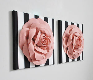 Blush Roses on Black Stripe Wall Art Set of Two - Daisy Manor