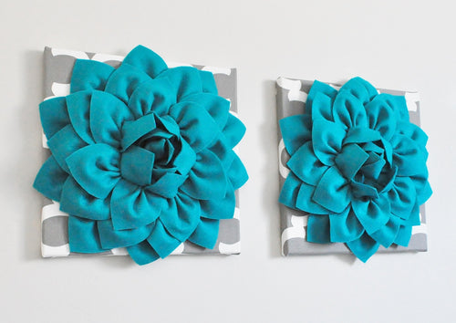 Dark Turquoise Dahlia flowers on Gray Moroccan Wall Art Canvases size 12x12