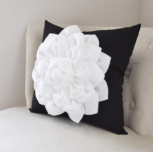 White Dahlia on Black Pillow Cover - Daisy Manor