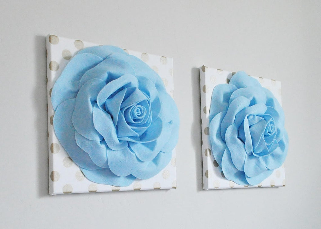 Light Blue Roses on Gold Polka Dot Canvases