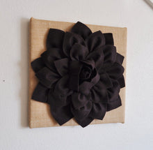 Load image into Gallery viewer, Brown Dahlia Flower on Burlap Wall Art - Daisy Manor