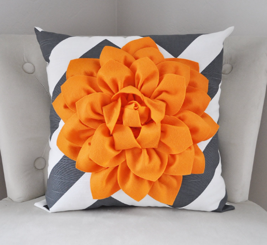 Charcoal Chevron Pillow with Dahlia Fower