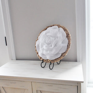 Rose on Basket Weave Wall Art Circle Wall Decor - Daisy Manor
