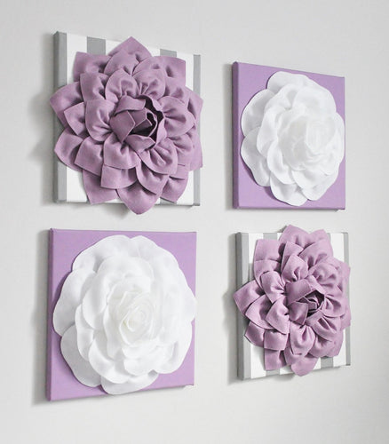 Abstract Lilac Dahlia and Rose Wall Art set of Four