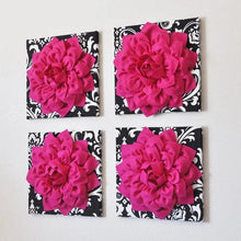 Load image into Gallery viewer, Hot Pink 3d Flower Decor Hot Pink Dahlia Wall Decor on Black and White Damask - Daisy Manor