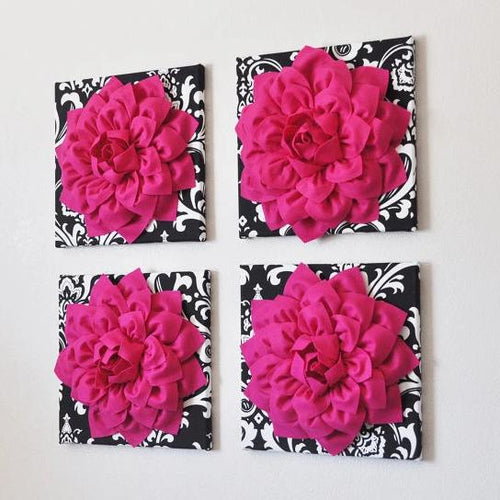 Hot Pink 3d Flower Decor Hot Pink Dahlia Wall Decor on Black and White Damask - Daisy Manor