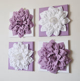 Two Lilac and White Dahlias on White and Lilac Canvases