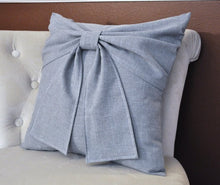 Load image into Gallery viewer, Grey Bow Pillow - Daisy Manor