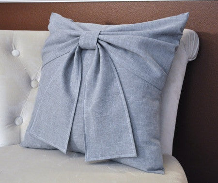 Grey Bow Pillow - Daisy Manor