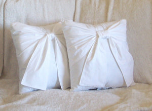 Throw Pillow White Big Bow Accent Pillow 14x14 - Daisy Manor
