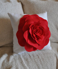Load image into Gallery viewer, Red Rose on White Pillow 14x14 - Daisy Manor