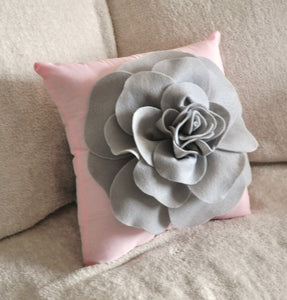 Light Grey Rose on Light Pink Pillow 14x14 - Daisy Manor