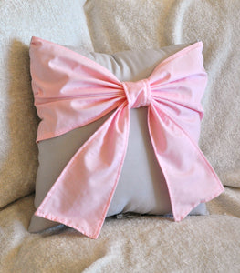 Light Pink Big Bow on Light Gray Decorative Pillow - Daisy Manor