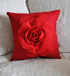 Red Rose on Red Pillow - Daisy Manor