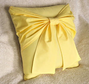 Yellow Bow Decorative Pillow - Daisy Manor