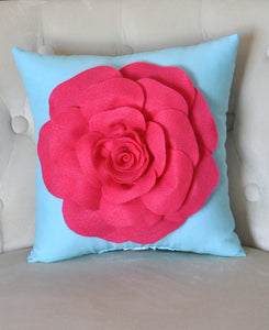 Pillow - 16 x 16 inch Hot Pink Dahlia Flower on Black Pillow - Daisy Manor