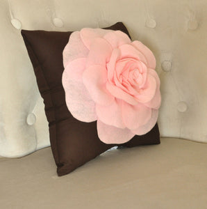 "Pink Rose on Brown Pillow 14""x14"" Throw Pillow - Daisy Manor"