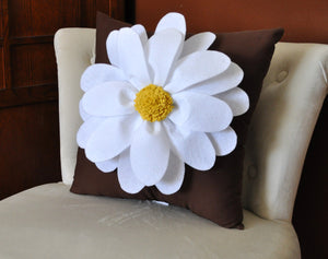 Daisy Felt Flower on Aqua Pillow  -New Bedbuggs Design -Pick your Colors- - Daisy Manor