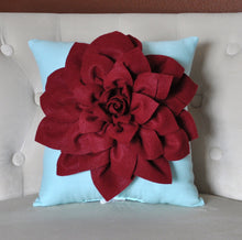 "Load image into Gallery viewer, Shabby Chic - Dahlia Felt Flower Decorative Pillow  -Ruby Red on Aqua - 14"" x 14"" -Poinsettia -Pick your Colors- Mum Flower - Daisy Manor"