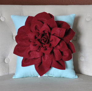 "Shabby Chic - Dahlia Felt Flower Decorative Pillow  -Ruby Red on Aqua - 14"" x 14"" -Poinsettia -Pick your Colors- Mum Flower - Daisy Manor"