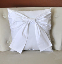 Load image into Gallery viewer, Throw Pillow White Big Bow Accent Pillow 14x14 - Daisy Manor