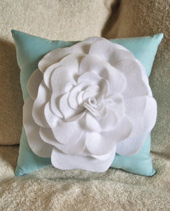 White Rose Aqua Pillow - Daisy Manor