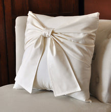 Load image into Gallery viewer, Ivory and Cream Bow Pillow Decorative Big Bow Pillow - Daisy Manor