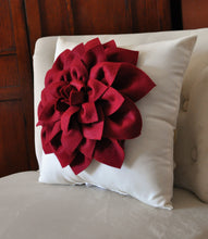 Load image into Gallery viewer, Decorative Pillow -Ruby Red Dahlia on Cream Pillow - - Daisy Manor