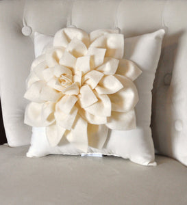 Decorative Pillow -Ruby Red Dahlia on Cream Pillow - - Daisy Manor