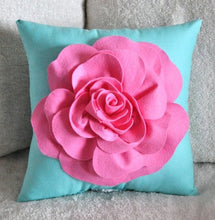 Load image into Gallery viewer, Throw Pillow Pink Rose on Bright Aqua Pillow 16 x 16 - Daisy Manor