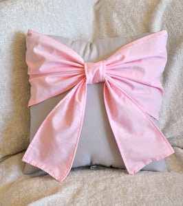 Light Pink Bow Pillow - Daisy Manor