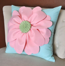 Load image into Gallery viewer, Daisy Felt Flower on Aqua Pillow  -New Bedbuggs Design -Pick your Colors- - Daisy Manor