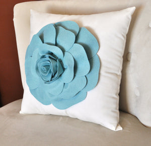 Rose Applique Dusty Blue Rose on Cream Pillow 14x14 -New Color- - Daisy Manor