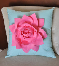 "Load image into Gallery viewer, Decorative Pillow Lotus Flower Throw Pillow  -Pink on Aqua - 14"" x 14"" -Water Lily Flower Bedbuggs Design - Daisy Manor"