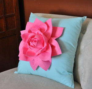 "Decorative Pillow Lotus Flower Throw Pillow  -Pink on Aqua - 14"" x 14"" -Water Lily Flower Bedbuggs Design - Daisy Manor"
