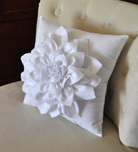 Load image into Gallery viewer, White Dahlia Felt Flower on Blue Pillow - Daisy Manor