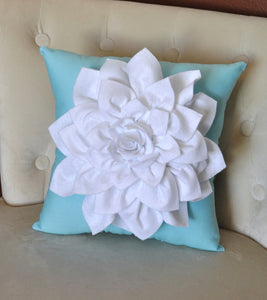 White Dahlia Felt Flower on Blue Pillow - Daisy Manor