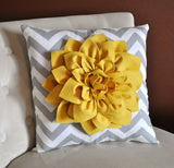 MOTHERS DAY SALE Mellow Yellow Dahlia on Gray and White Zigzag Pillow -Chevron Pillow-
