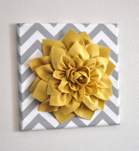 Load image into Gallery viewer, Mellow Yellow Dahlia on Gray and White Zigzag Pillow -Chevron Pillow- - Daisy Manor