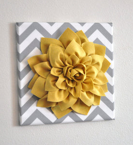 Decorative Pillow- Light Yellow Dahlia on Gray and White Zigzag Pillow -Chevron Pillow- - Daisy Manor