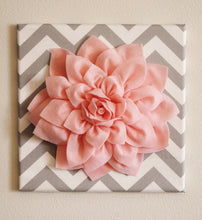 "Load image into Gallery viewer, Wall Flower -Light Pink Dahlia on Gray and White Chevron 12 x12"" Canvas Wall Art- Baby Nursery Wall Decor- - Daisy Manor"