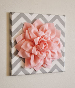 "Two Wall Flowers -Light Pink Dahlia on Gray and White Chevron 12 x12"" Canvas Wall Art- Baby Nursery Wall Decor- - Daisy Manor"
