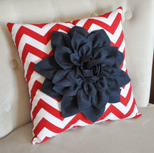 Load image into Gallery viewer, Ruby Red Dahlia on Navy Blue and White Zigzag Pillow -Chevron Pillow- Patriotic Decor- Red White and Blue - Daisy Manor