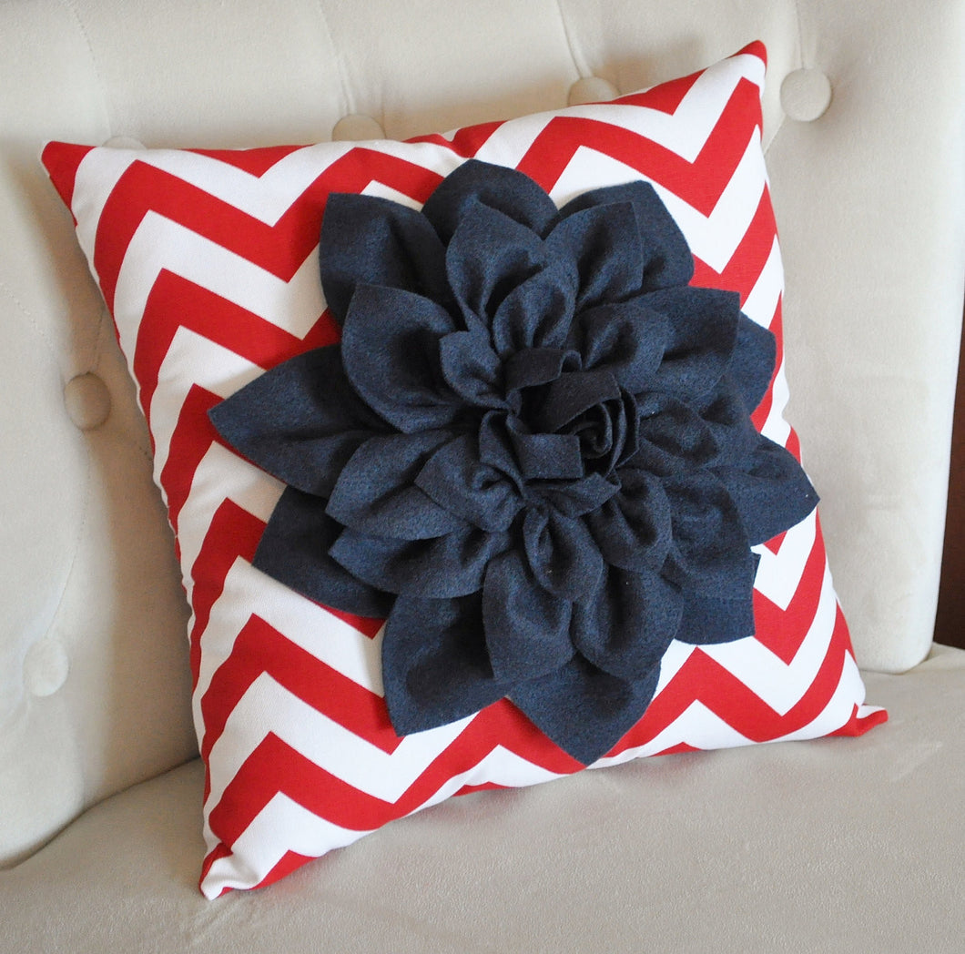 Ruby Red Dahlia on Navy Blue and White Zigzag Pillow -Chevron Pillow- Patriotic Decor- Red White and Blue - Daisy Manor