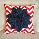 MOTHERS DAY SALE Navy Blue Dahlia on Red and White Zigzag Pillow -Chevron Pillow-  Red White and Blue