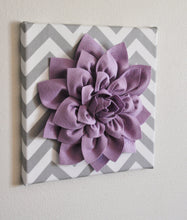 "Load image into Gallery viewer, Wall Flower -Dusty Blue Dahlia on Gray and White Chevron 12 x12"" Canvas Wall Art- Baby Nursery Wall Decor- - Daisy Manor"