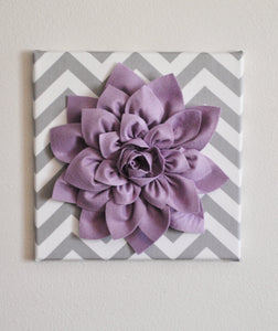 "Wall Flower -Lilac Dahlia on Gray and White Chevron 12 x12"" Canvas Wall Art- Baby Nursery Wall Decor- - Daisy Manor"