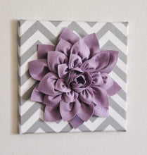 "Load image into Gallery viewer, Wall Flower -Lilac Dahlia on Gray and White Chevron 12 x12"" Canvas Wall Art- Baby Nursery Wall Decor- - Daisy Manor"
