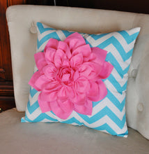 Load image into Gallery viewer, Pink Dahlia on Girly Blue and White Zigzag Pillow -Chevron Pillow- - Daisy Manor