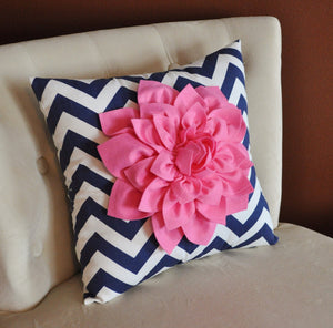 Pink Dahlia on Navy and White Zigzag Pillow - Chevron Pillow - - Daisy Manor